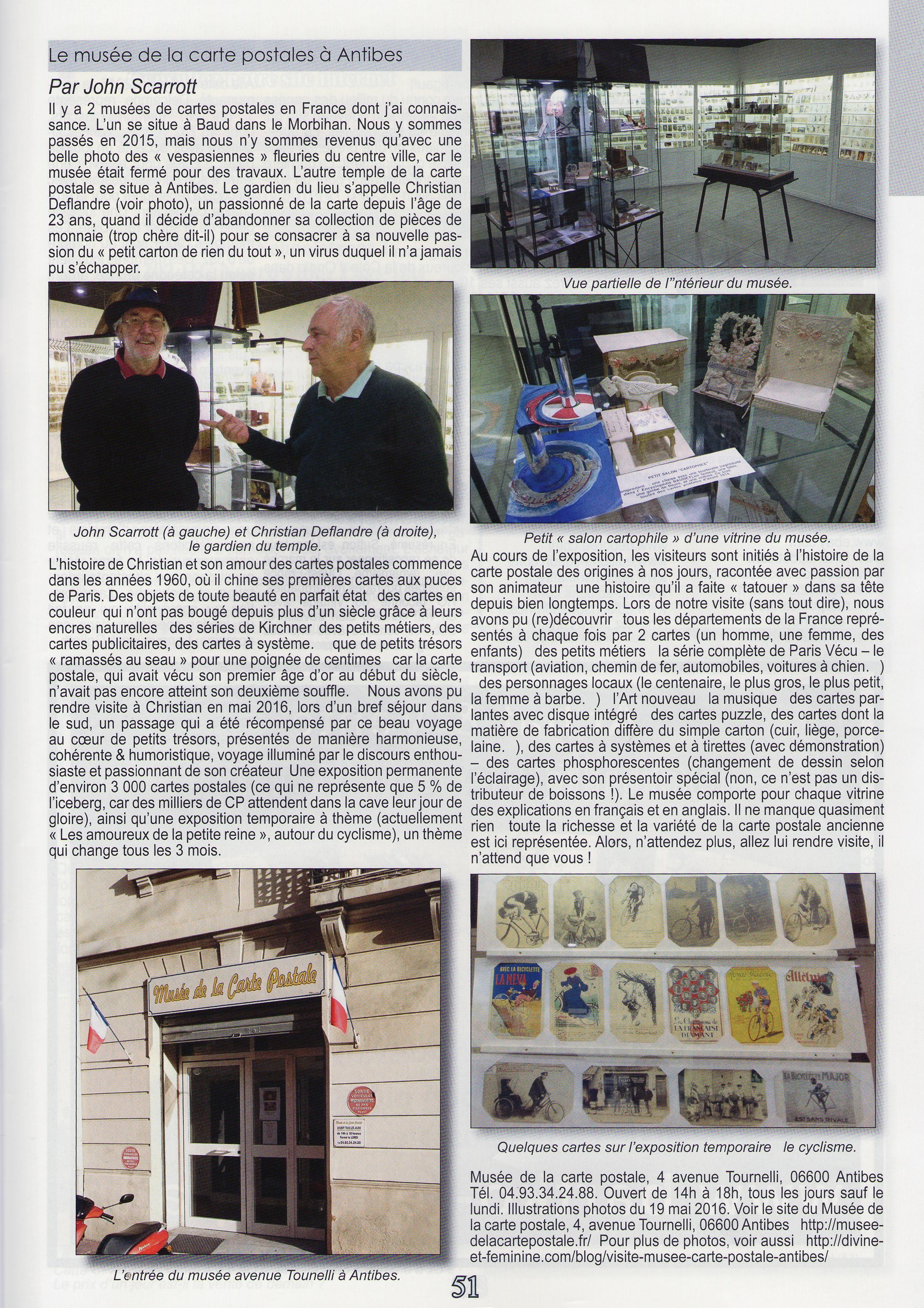 Article sur le musée de la carte postale d'Antibes, dans le carte postale magazine n°24 de juillet août 2016.