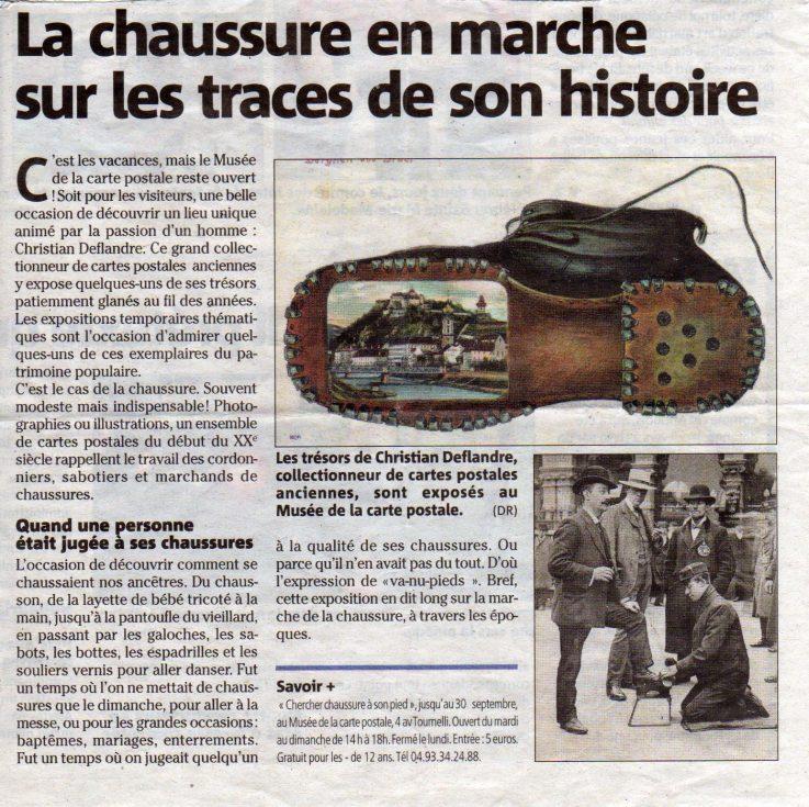 Extrait du Nice Matin en date du 25/07/2016 sur l'exposition sur la chaussure au musée de la Carte Postale d'Antibes.