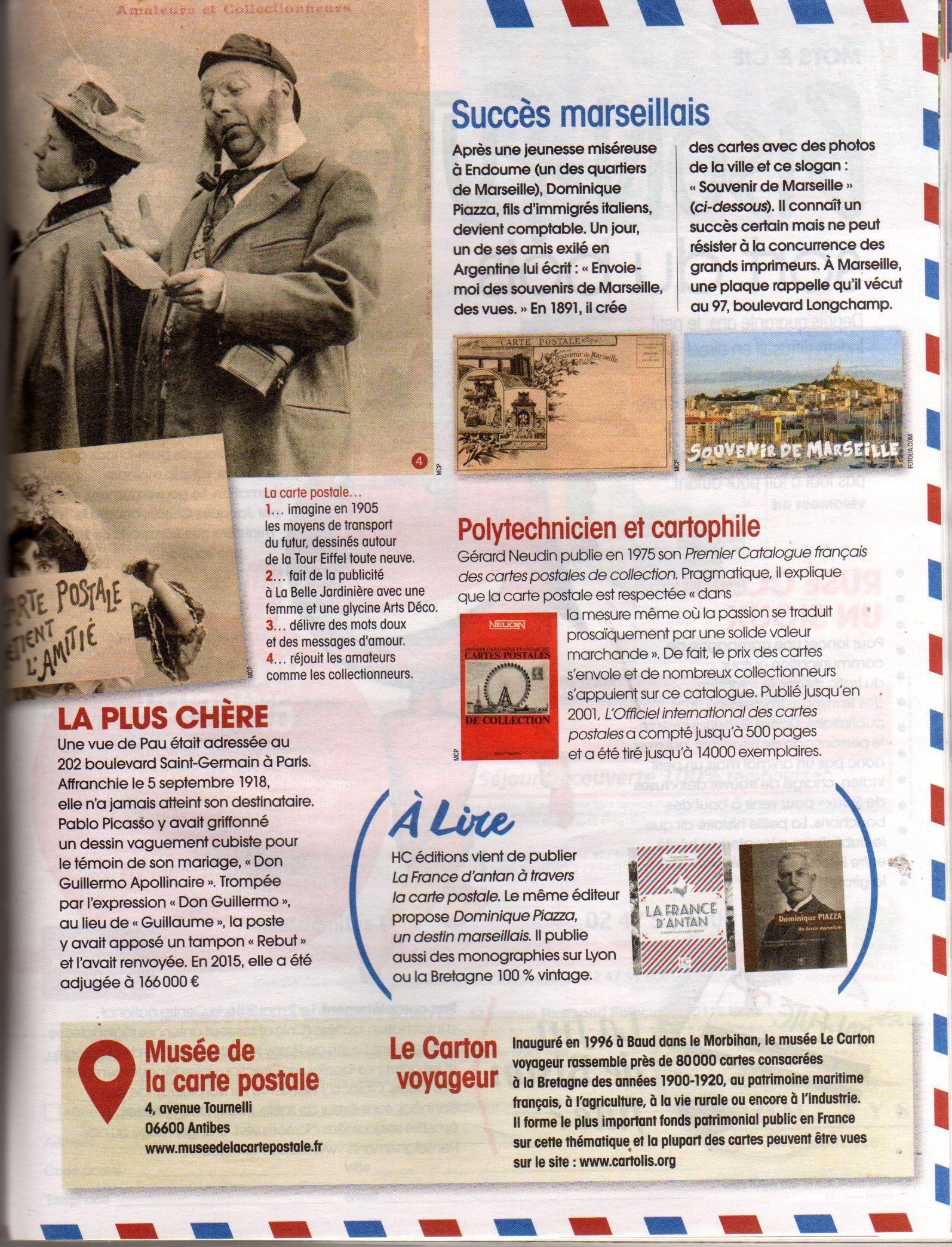 Article sur les cartes postales et le musée de la carte postale, issu de la revue Notre Temps, édition d'Août 2016.