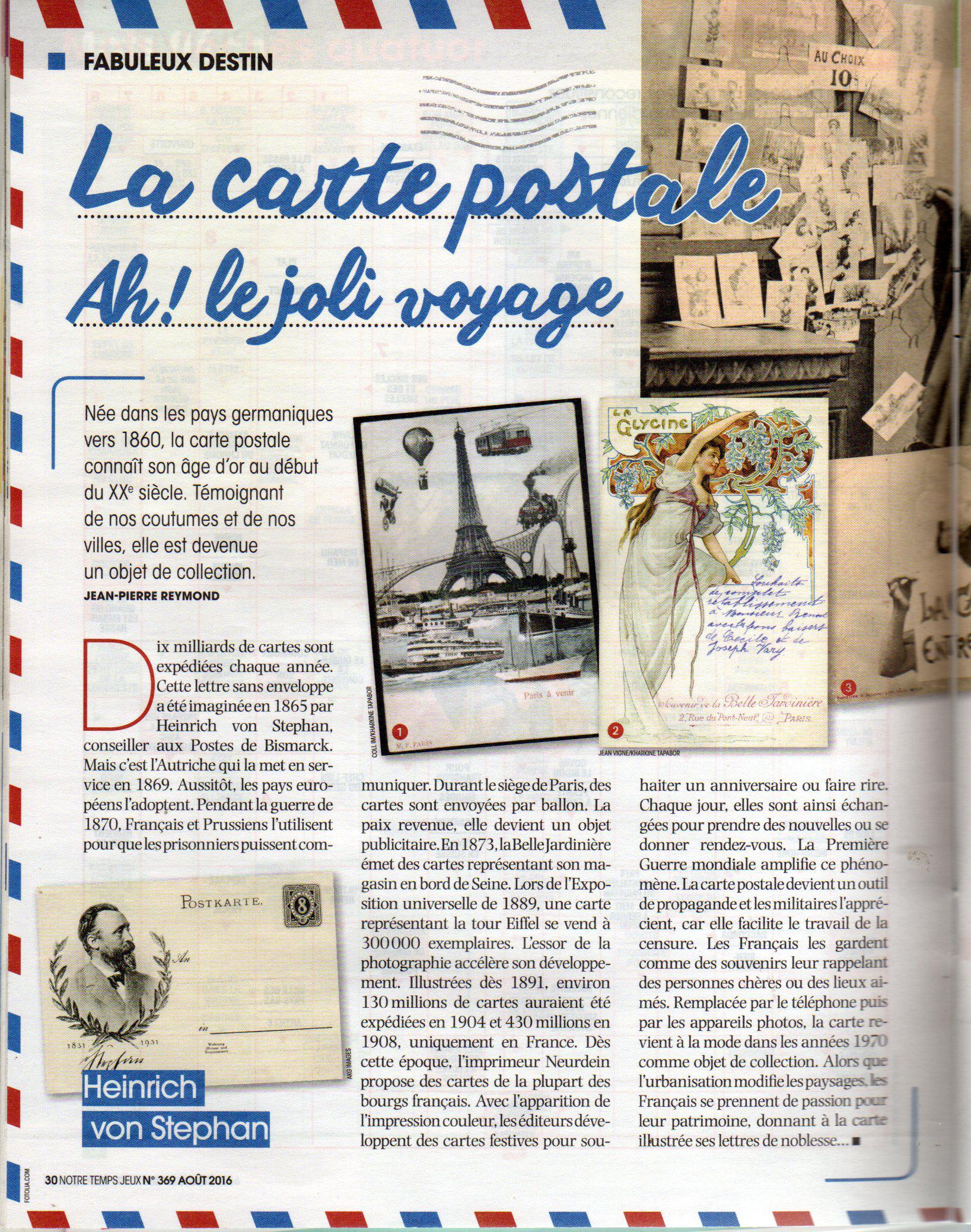 Article sur les cartes postales, issu de la revue Notre Temps, édition d'Août 2016.