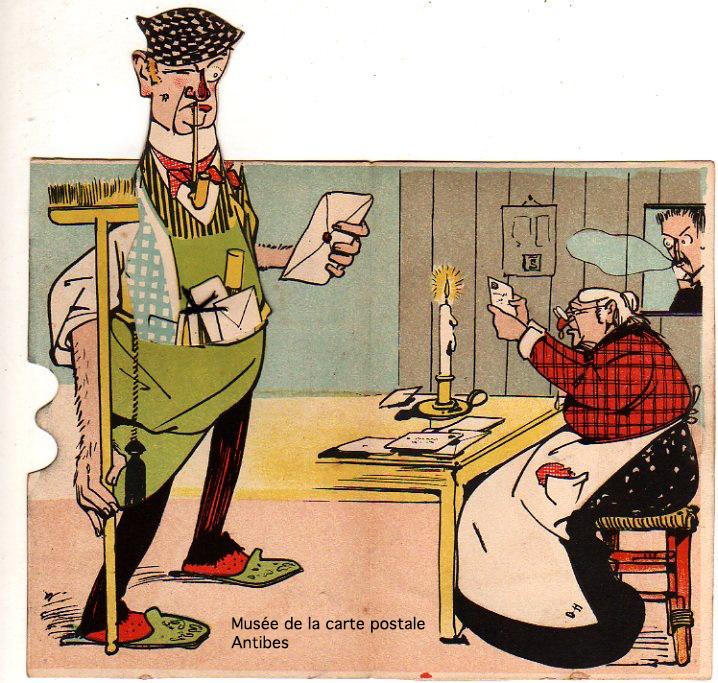 Carte postale illustrée, à système, représentant un concierge lisant le courrier.