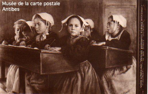 Carte postale illustrée représentant des écolières.