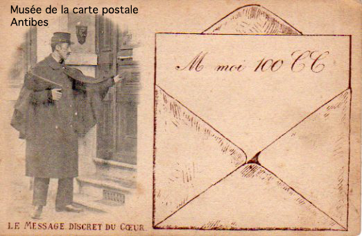 Carte postale illustrée représentant un message d'amour en language sms.