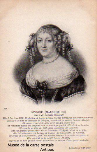 Carte postale illustrée représentant la marquise De Sévigné.