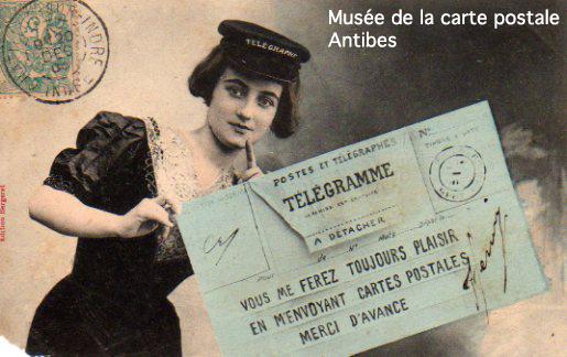 Carte postale illustrée représentant un télégramme et le plaisir d'en recevoir.