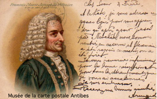 Carte postale illustrée représentant Voltaire.