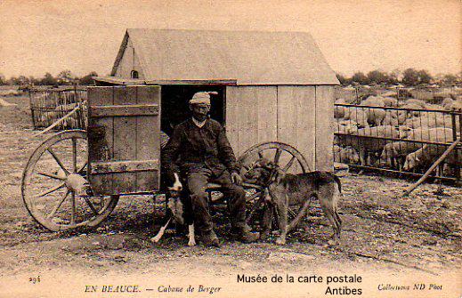 Carte postale ancienne, représentant la cabane d'un berger dans la Beauce.