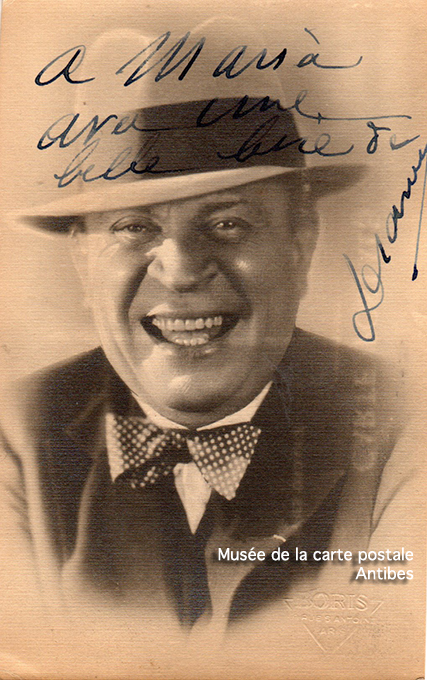 Carte postale ancienne avec autographe de Dranem.