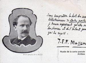 Carte postale ancienne avec autographe de Jules Emile Frédéric Massenet.