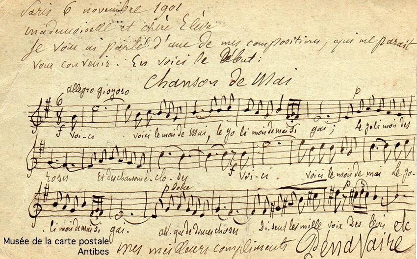 Carte postale ancienne avec autographe et composition musicale manuscrite de Monsieur Pénavaire.
