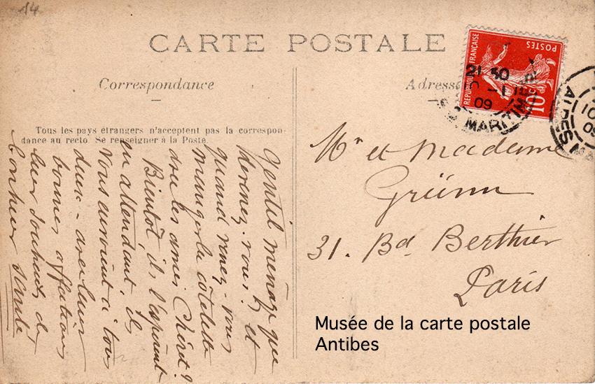Carte postale ancienne avec autographe et correspondance entre 2 illustrateurs : Chéret et Grünn.