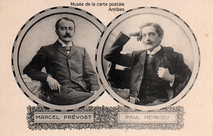 Carte postale ancienne représentant Marcel Prévost et Paul Hervieu.