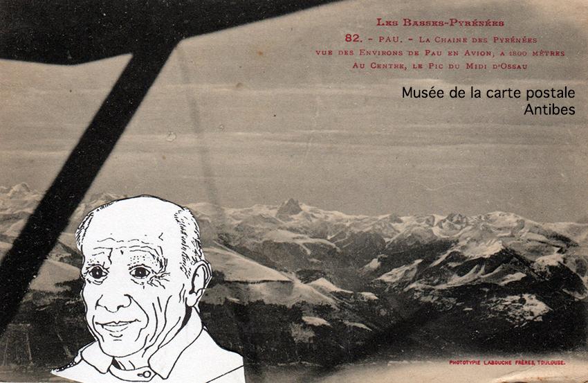 Carte postale ancienne de Pau, avec trucage d'un dessin de Picasso, afin d'illustrer la valeur des autographes sur les cartes postales.