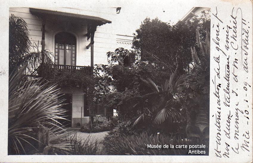 Carte postale ancienne de la villa Chéret à Nice avec autographe.