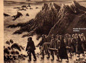 Carte postale ancienne représentant un naufrage à Ouessant.