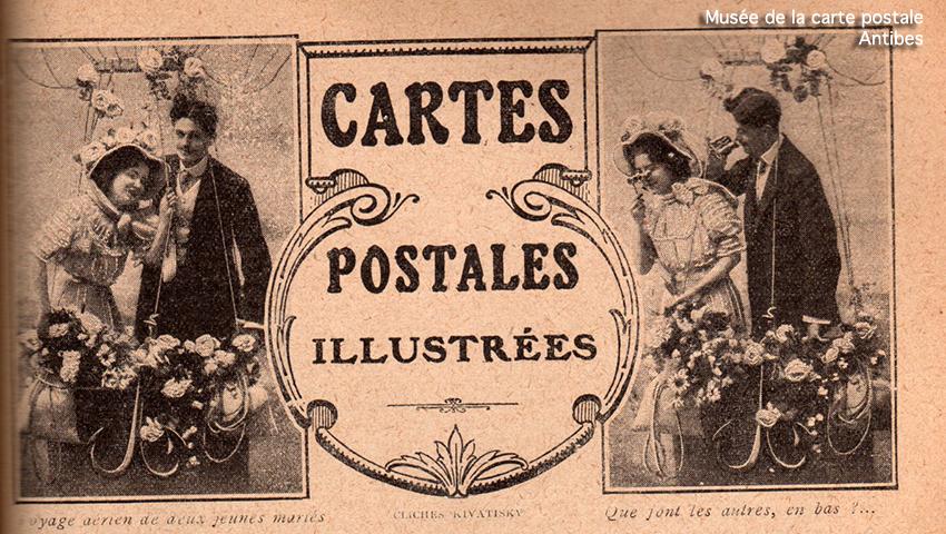 Carte postale illustrée représentant un couple d'amoureux dans un ballon dirigeable.