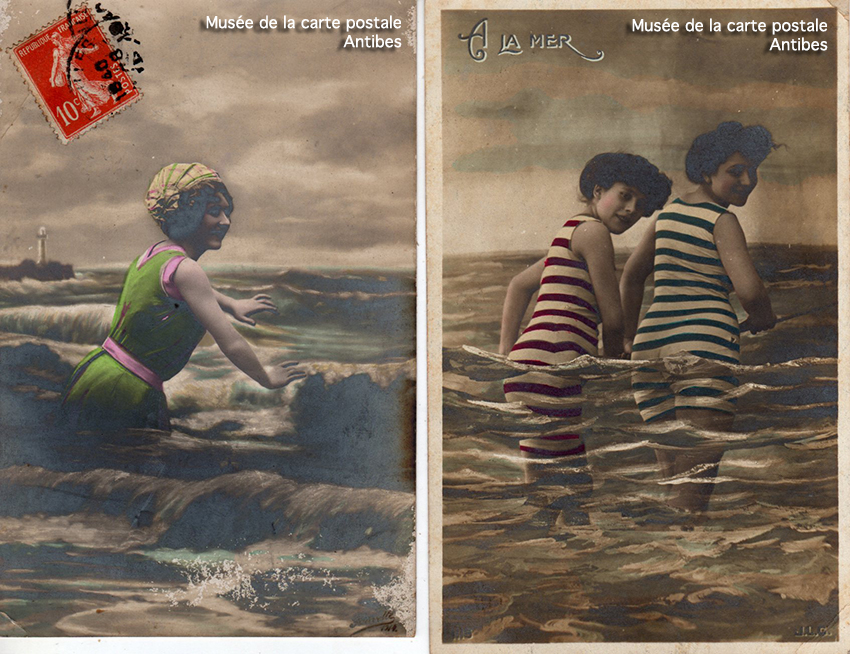 Cartes postales montage photo illustrant des baigneuses à la mer.