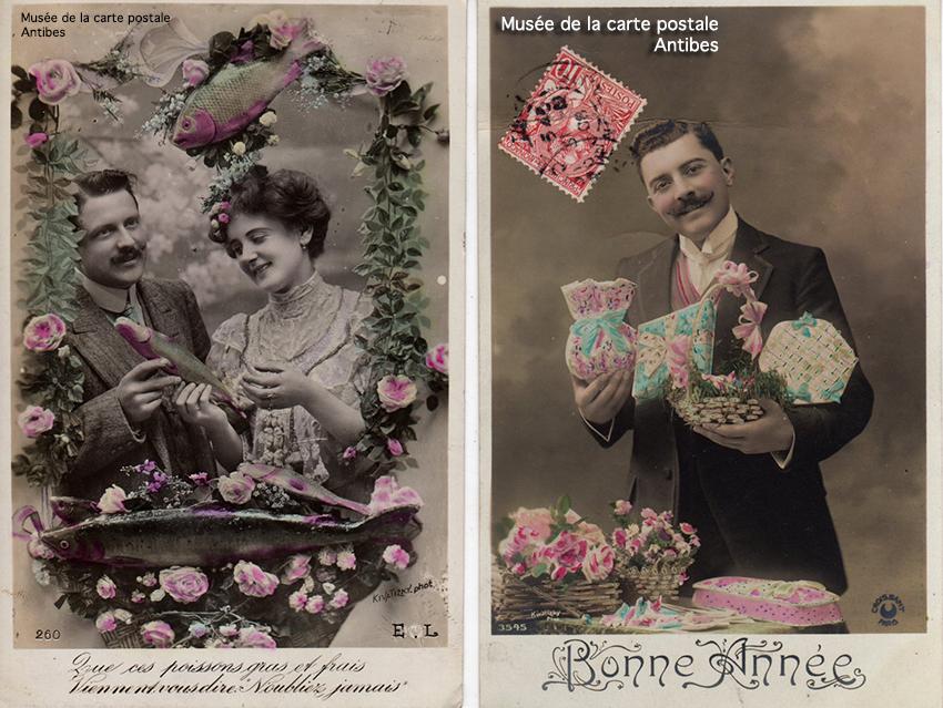 Cartes postales photo montage pour le 1er janvier et pour le 1er avril.