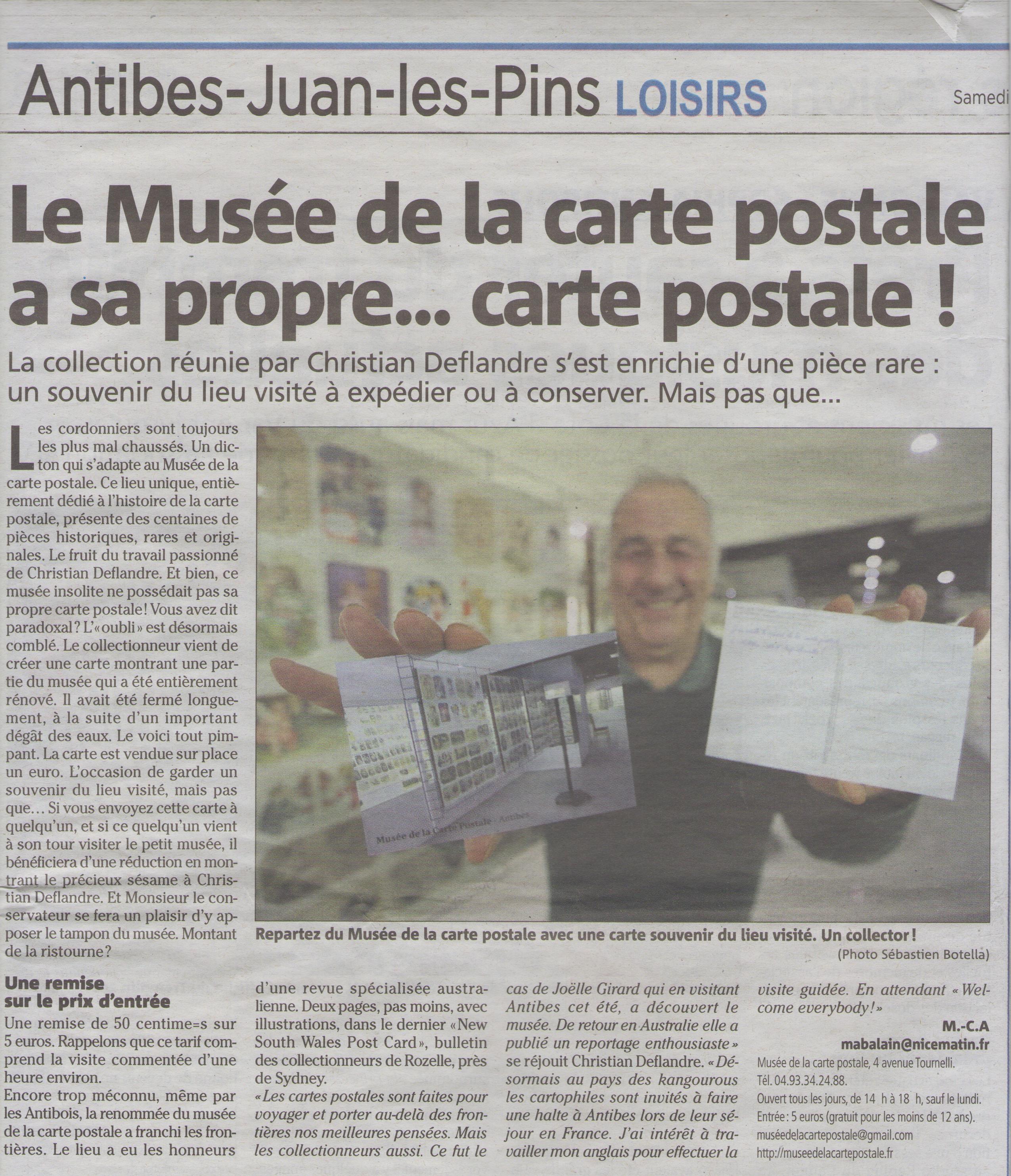 Article Nice Matin du 07/01/2017 sur la carte postale souvenir du musée de la carte postale, à Antibes.