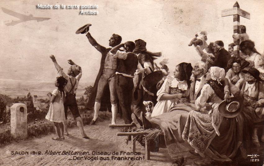 Carte postale ancienne représentant un poteau à la frontière franco-allemande.