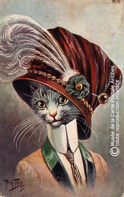 Carte postale ancienne représentant un chat habillé comme un noble, issue de l'exposition temporaire sur les animaux humanisés, au Musée de la Carte Postale, à Antibes.
