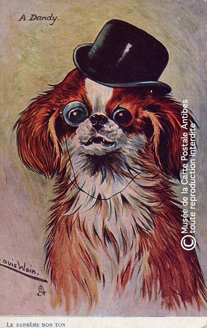 Carte postale ancienne représentant un chien habillé comme un dandy, issue de l'exposition temporaire sur les animaux humanisés, au Musée de la Carte Postale, à Antibes.