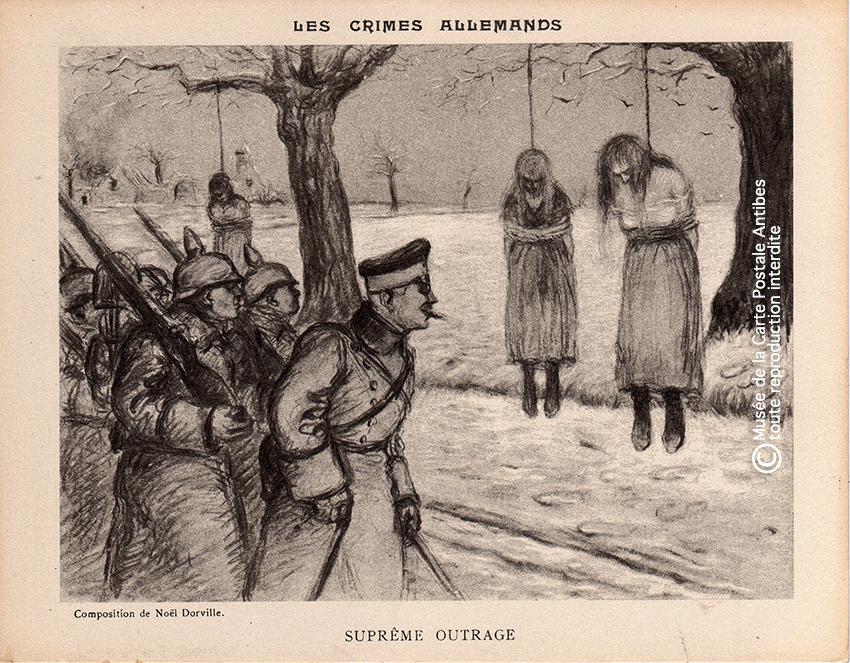 """Carte postale pendaison, horreurs de guerre, issue de la série """"les crimes allemands"""" illustrée par Noël Dorville."""