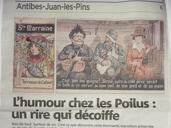 """Article Nice Matin du 14/01/2018 sur l'exposition temporaire """"l'humour chez les Poilus"""" au Musée de la Carte Postale."""