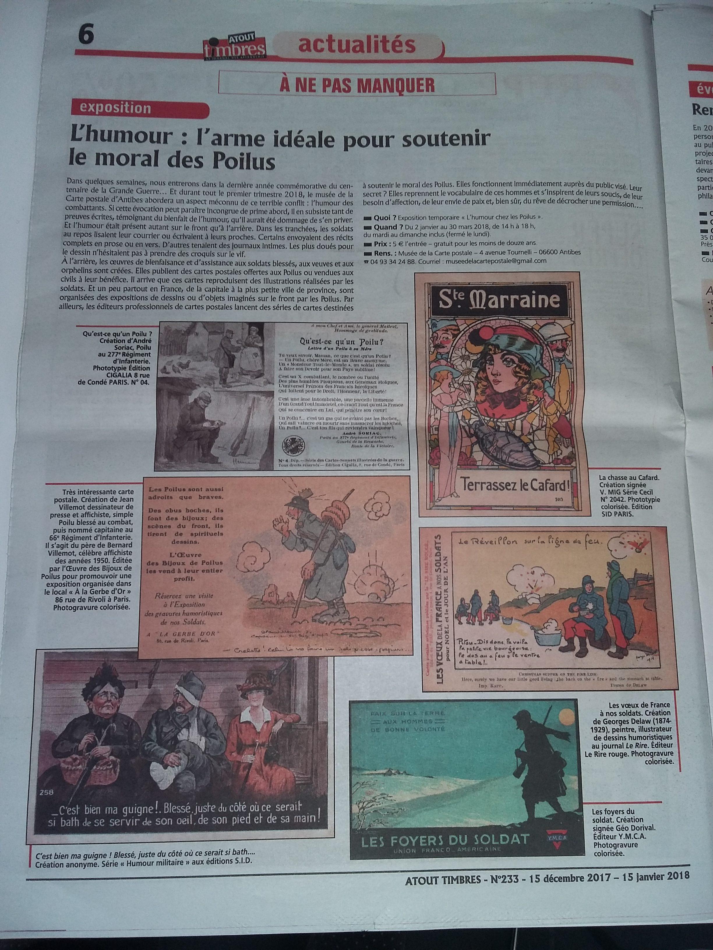 """Article présentant l'exposition temporaire """"l'humour chez les Poilus"""" au Musée de la Carte Postale, dans le journal Atout Timbres n°233."""