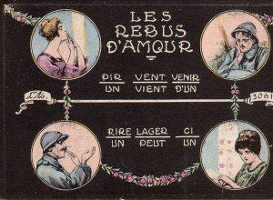 """Carte postale illustrant les rebus d'amour d'un Poilu, issue de l'exposition temporaire """"l'humour chez les poilus"""" au Musée de la Carte Postale, à Antibes."""