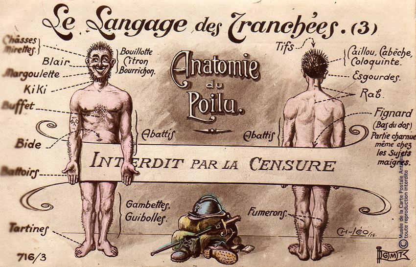 """Carte postale illustrant le langage des tranchées par l'anatomie d'un Poilu, issue de l'exposition temporaire """"l'humour chez les poilus"""" au Musée de la Carte Postale, à Antibes."""