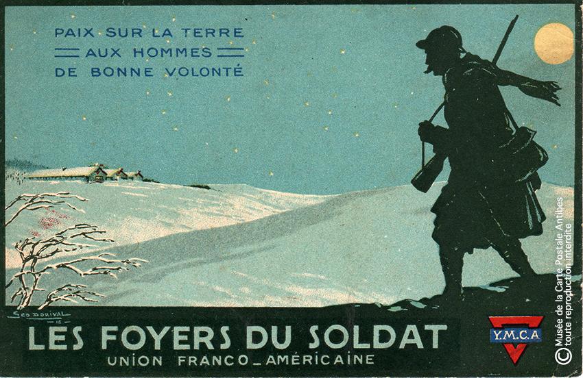 """Carte postale illustrée représentant la paix vue par les foyers du soldat, issue de l'exposition temporaire """"l'humour chez les poilus"""" au Musée de la Carte Postale, à Antibes."""