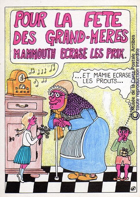 Carte postale moderne autour de la Fête des Grands-Mères.