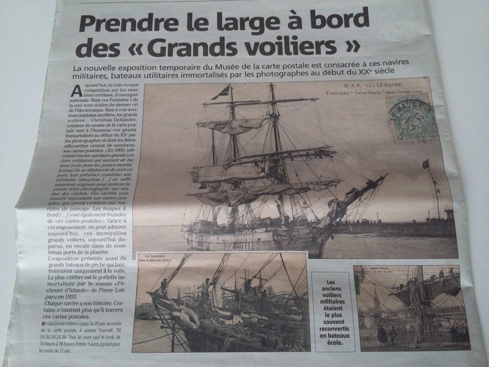 Article Nice Matin du 14/04/2018 sur l'exposition des grands voiliers au Musée de la Carte Postale, à Antibes.