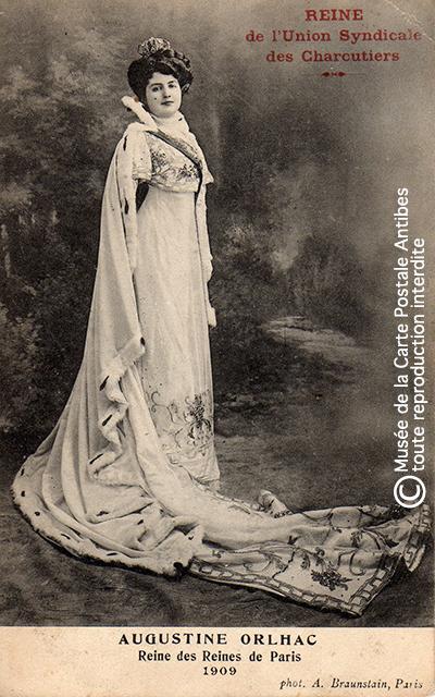 Carte postale Reine des reines Augustine Orlhac, Union syndicale des charcutiers.