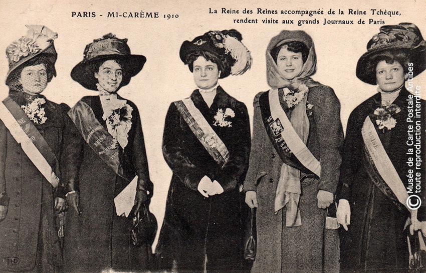 Carte postale concours de reines à Paris en 1910.