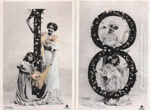 Cartes postales chiffres 1 et 8.