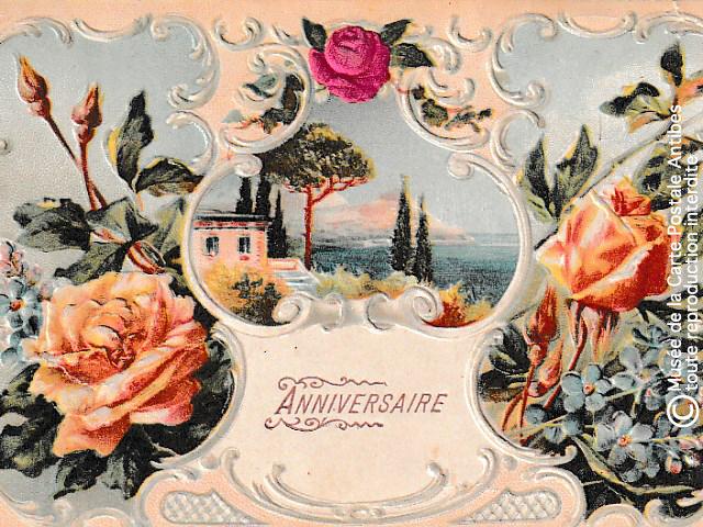 Carte postale ancienne d'anniversaire.