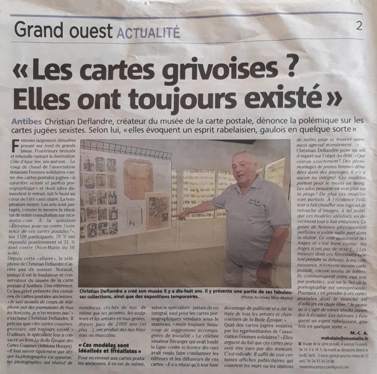Article Nice Matin du 12/08/2018 sur la polémique des cartes postales grivoises jugées sexistes.