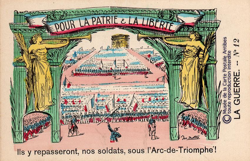 Carte postale représentant un arc de triomphe militaire des soldats poilus, issue de l'exposition temporaire sur les Arcs de triomphe au Musée de la Carte Postale.