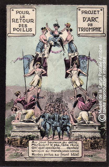 Carte postale représentant un arc de triomphe militaire pour les poilus, issue de l'exposition temporaire sur les Arcs de triomphe au Musée de la Carte Postale.