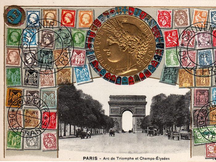 Carte postale représentant l'arc de triomphe des Champs Elysées à Paris, issue de l'exposition temporaire sur les Arcs de triomphe au Musée de la Carte Postale.