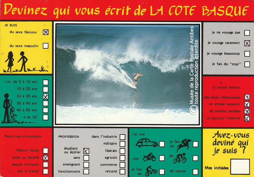 Carte postale pour paresseux, à cocher, de la Cote Basque.