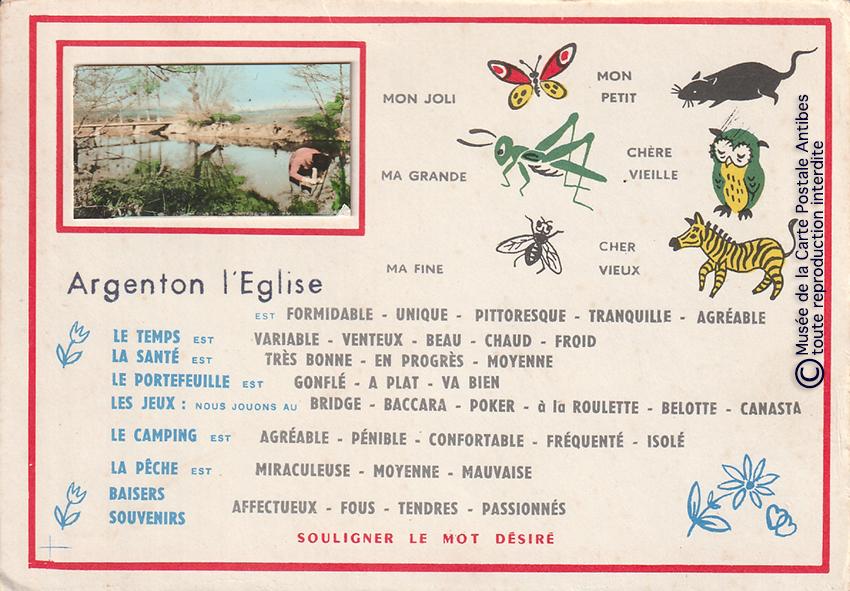 Carte postale pour paresseux d'Argenton l'Eglise avec mots à souligner.