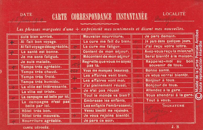 Carte postale pour paresseux avec correspondance instantanée (a voyagé en 1910).