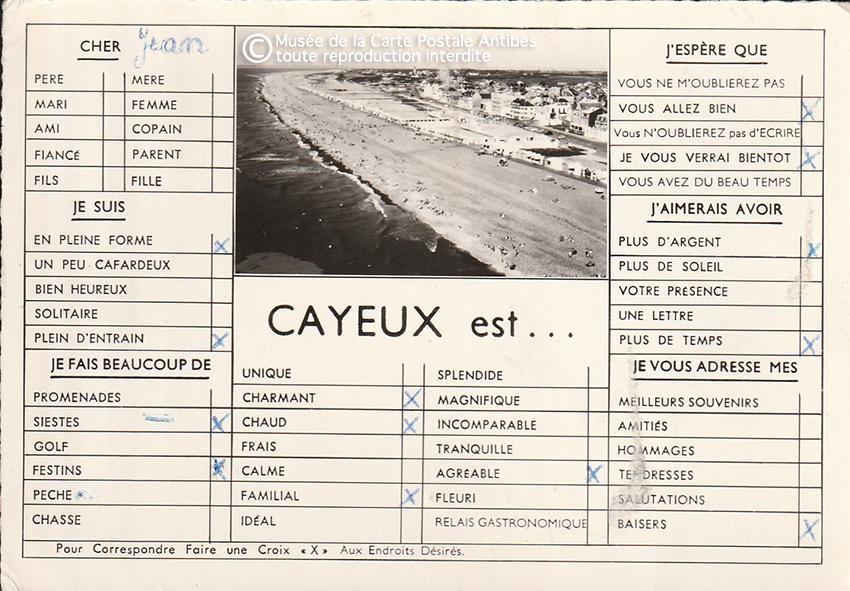 Carte postale de Cayeux pour paresseux, correspondre en faisant des croix.