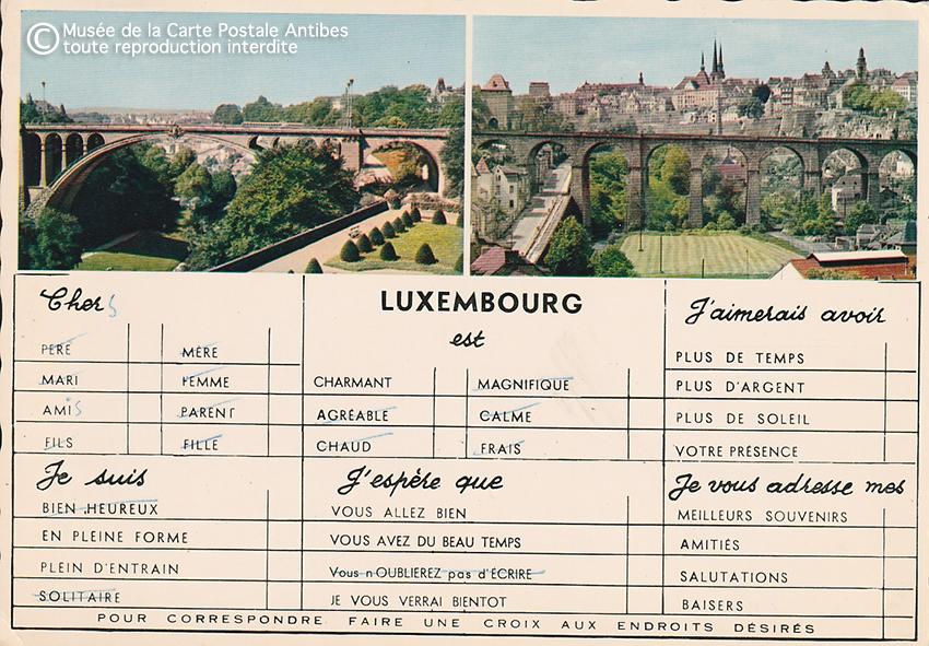Carte postale pour paresseux du Luxembour, faire une croix pour correspondre.