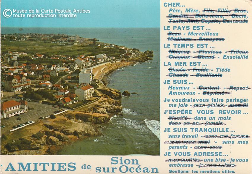 Carte postale pour paresseux de Sion sur Océan.