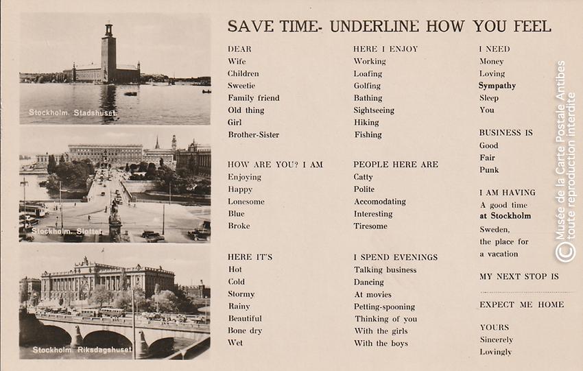 Carte postale pour paresseux représentant Stockholm avec des mentions (en anglais) à rayer.