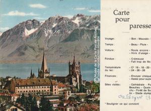 Carte postale pour paresseux de Suisse, représentant Lausanne-Ouchy.